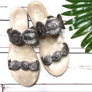 •Jack Rogers• sz 8 silver Lauren sandals